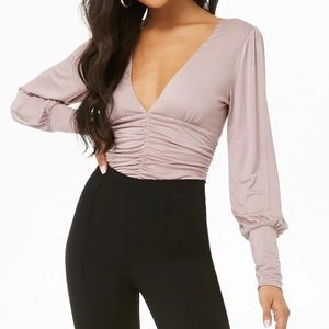 Long Sleeve Plunging Ruched Bodysuit